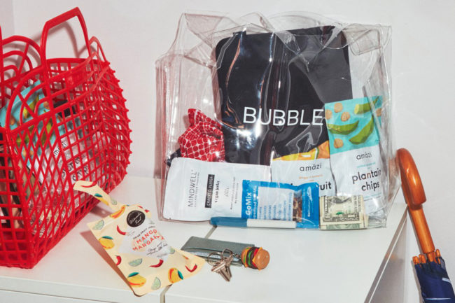 Bubble groceries in bag