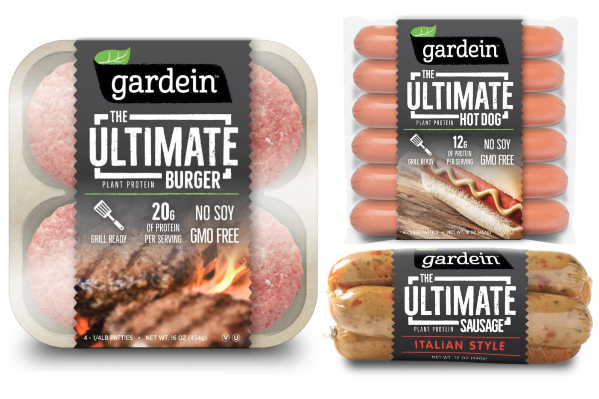 Gardein plant-based meat alternatives with caption