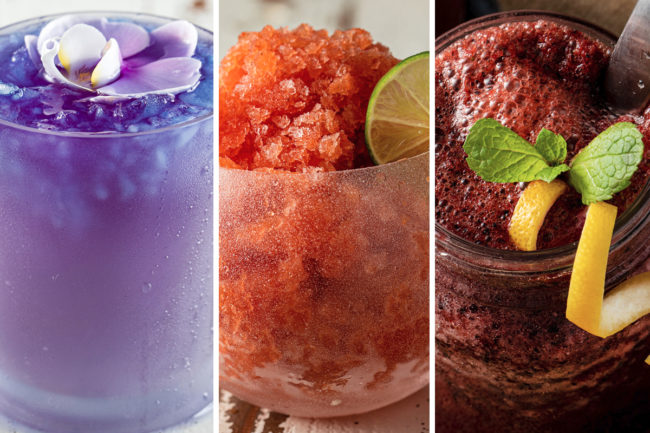 "Grapefruit basil kombucha mocktail with butterfly pea flower shaved ice, chili spiced watermelon rosé granita, and blueberry vanilla ""lemonade"" shaved ice mocktail"