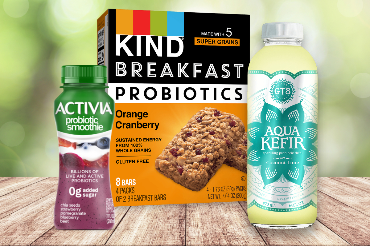 Probiotic products from Danone, Kind and GTs Living Foods