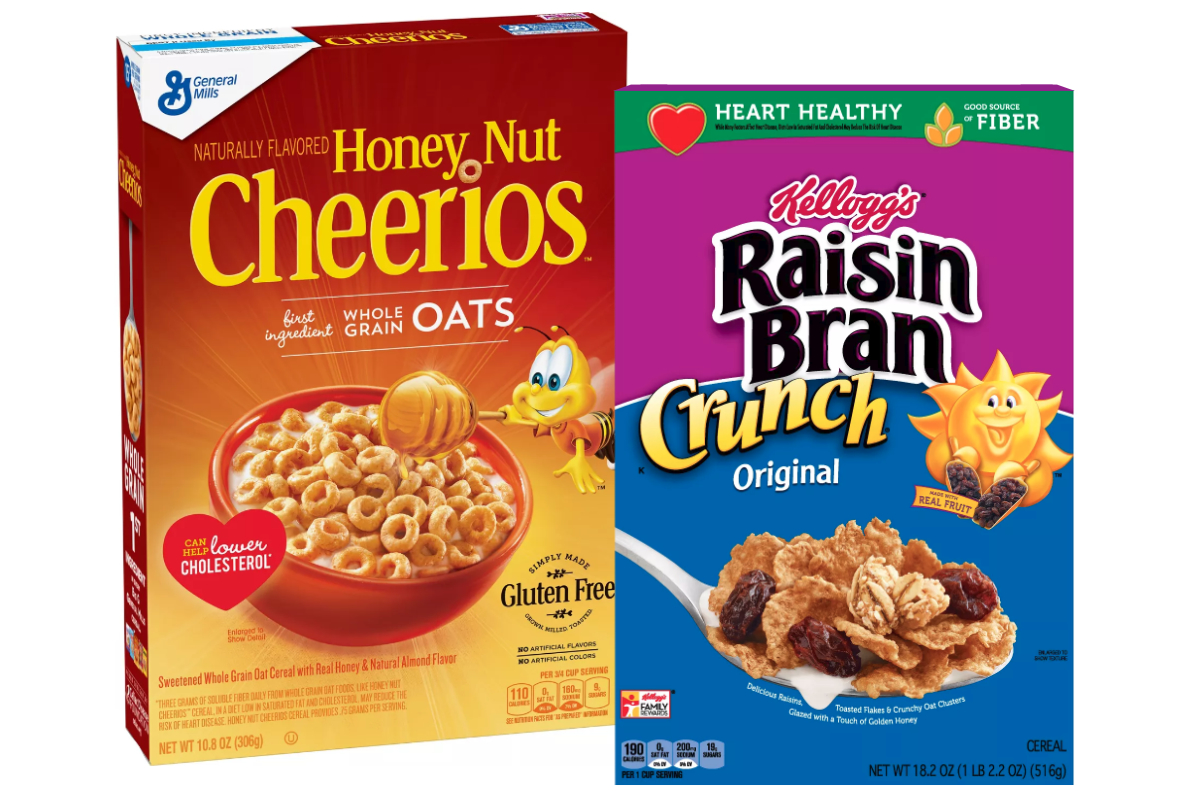 General Mills Honey Nut Cheerios and Kelloggs Raisin Bran Crunch