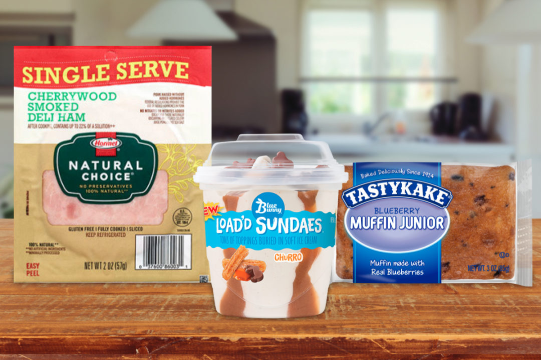 Single-serve products from Hormel, Wells Enterprises and Flowers Foods