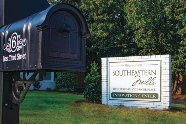 Southeastern Mills culinary innovation center sign