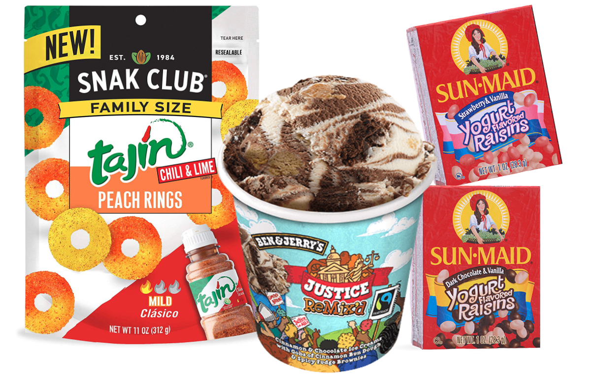 Products featuring flavor mashups from Unilever, Sun-Maid and Century Snacks