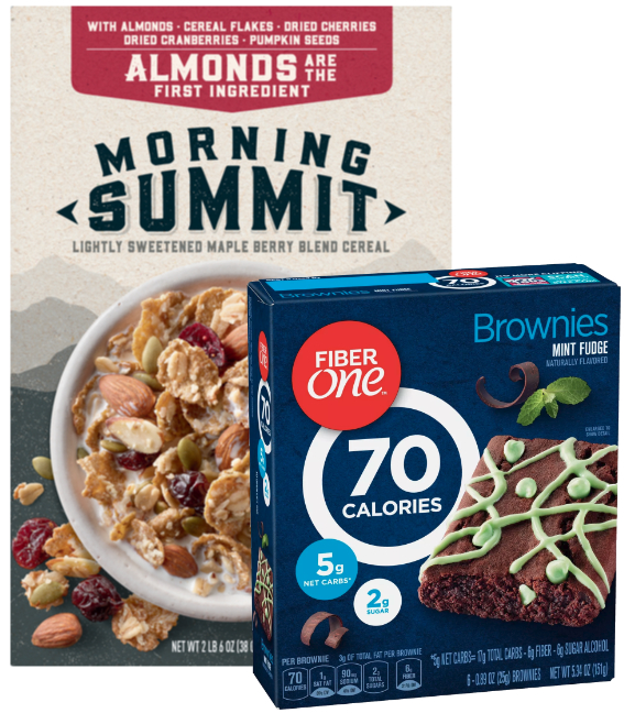 Morning Summit cereal and Fiber One brownies, General Mills
