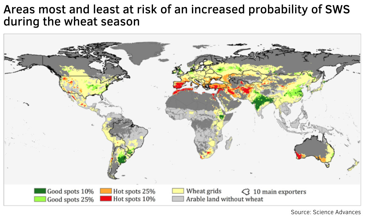 Wheat drought map infographic
