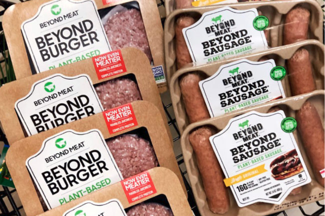 Beyond Meat products in a shopping cart