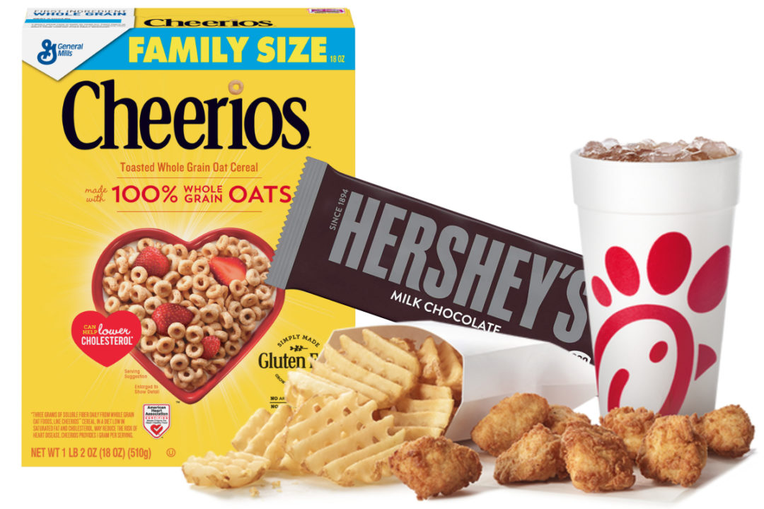 Cheerios, Hershey bar and Chick-fil-A meal