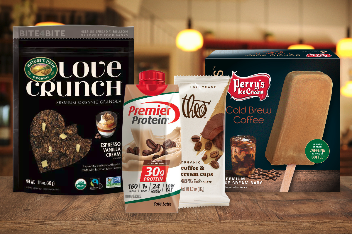 New coffee-infused products from BellRing Brands, Nature's Path, Theo Chocolate and Perry's Ice Cream