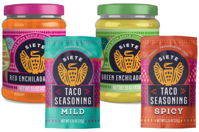 Siete Family Foods taco seasonings and enchilada sauces