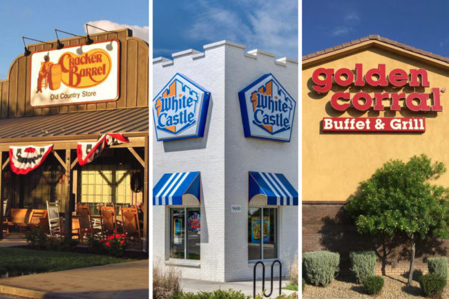 Cracker Barrel, White Castle and Golden Corral restaurants