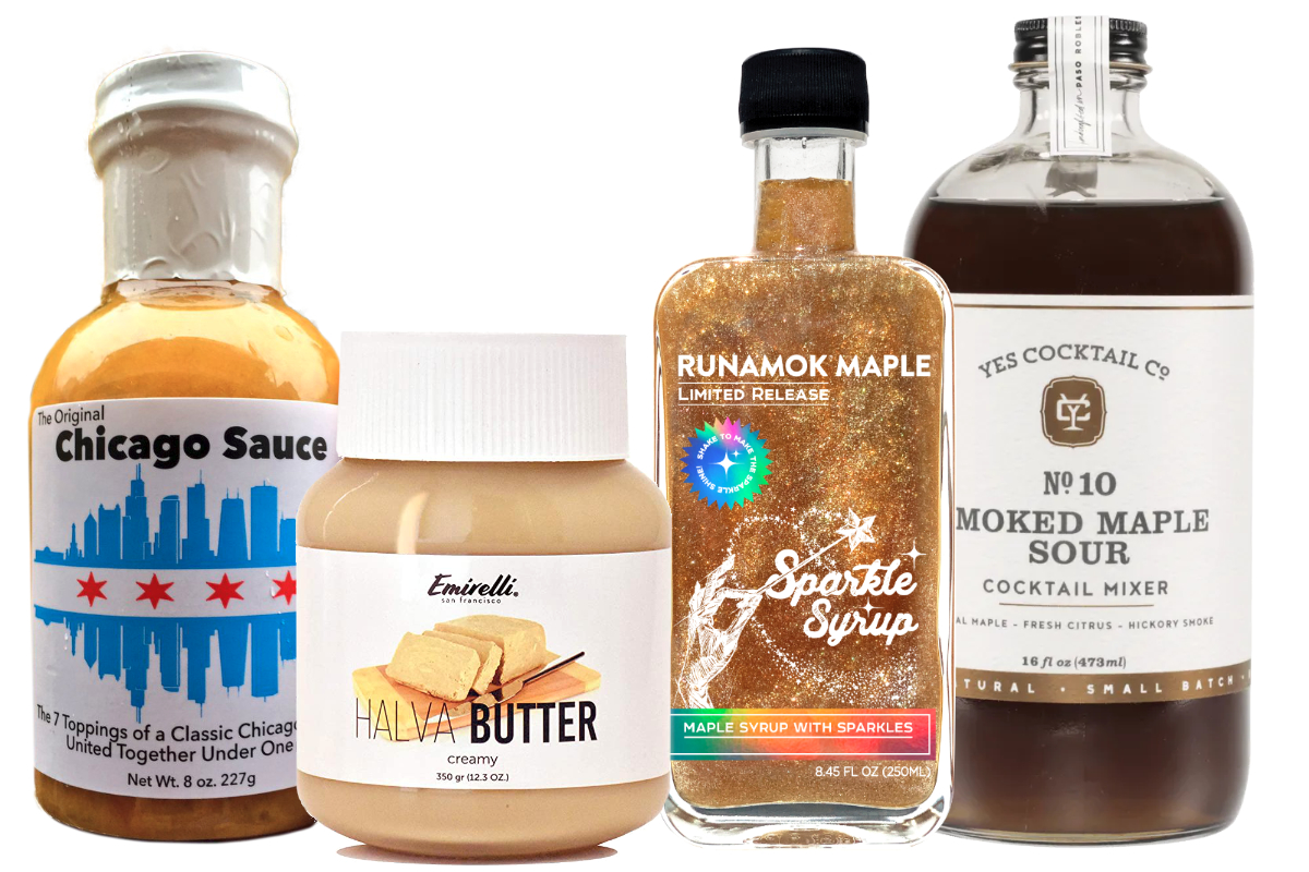 Gourmet condiments, cooking sauces and cocktail mixes