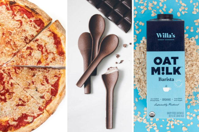 Pleese Foods plant-based cheese, Planeteer edible spoons and Willa's oat milk