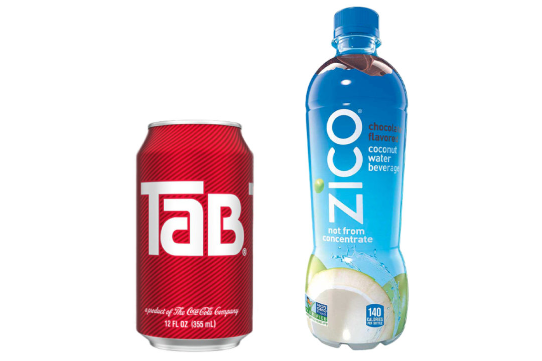 Tab diet soda and Zico coconut water