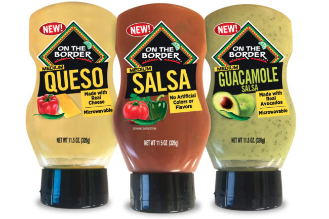 On the Border squeezable medium salsa, queso and guacamole salsa