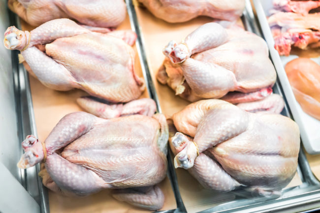 Whole raw chickens