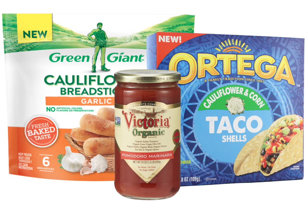 B&G Foods products - Green Giant cauliflower breadsticks, Ortega cauliflower taco shells and Victoria pasta sauce