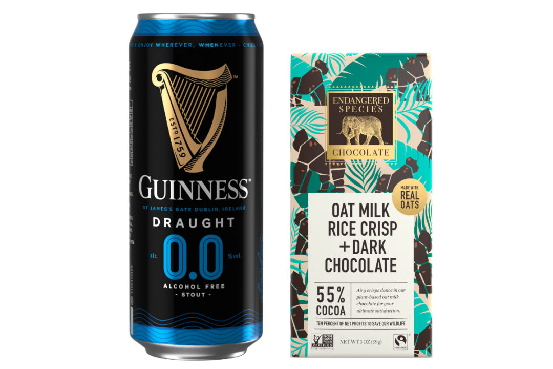 Guinness zero-proof beer and Endangered Species oat milk chocolate bar