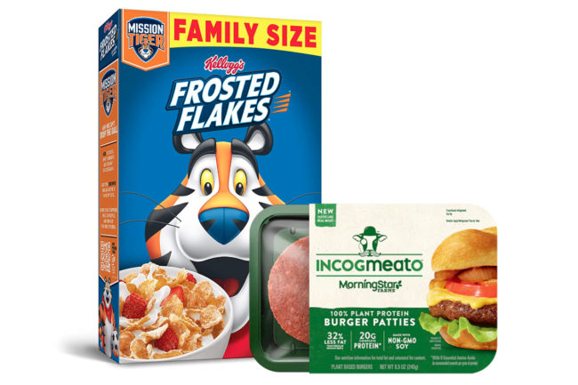 Kellogg's Frosted Flakes and Incogmeato plant-based burger patties