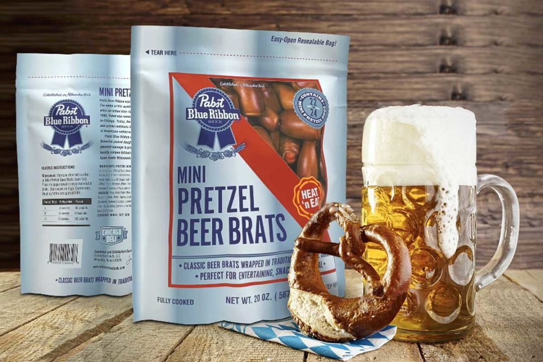 Pabst Blue Ribbon Mini Pretzel Wrapped Beer Brats