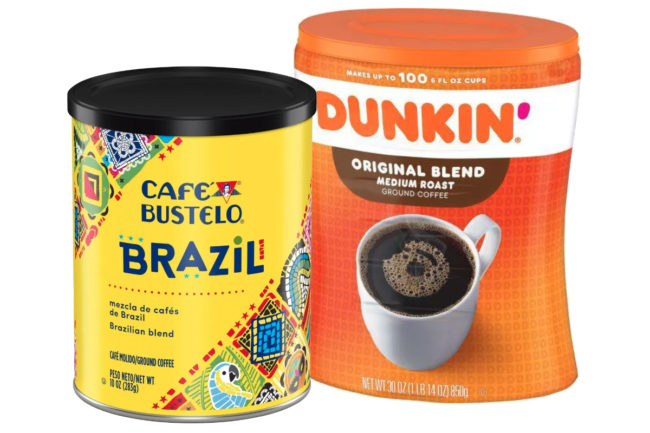 Café Bustelo and Dunkin' coffee