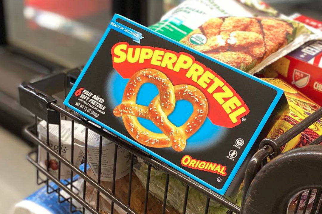 Superpretzel in grocery cart