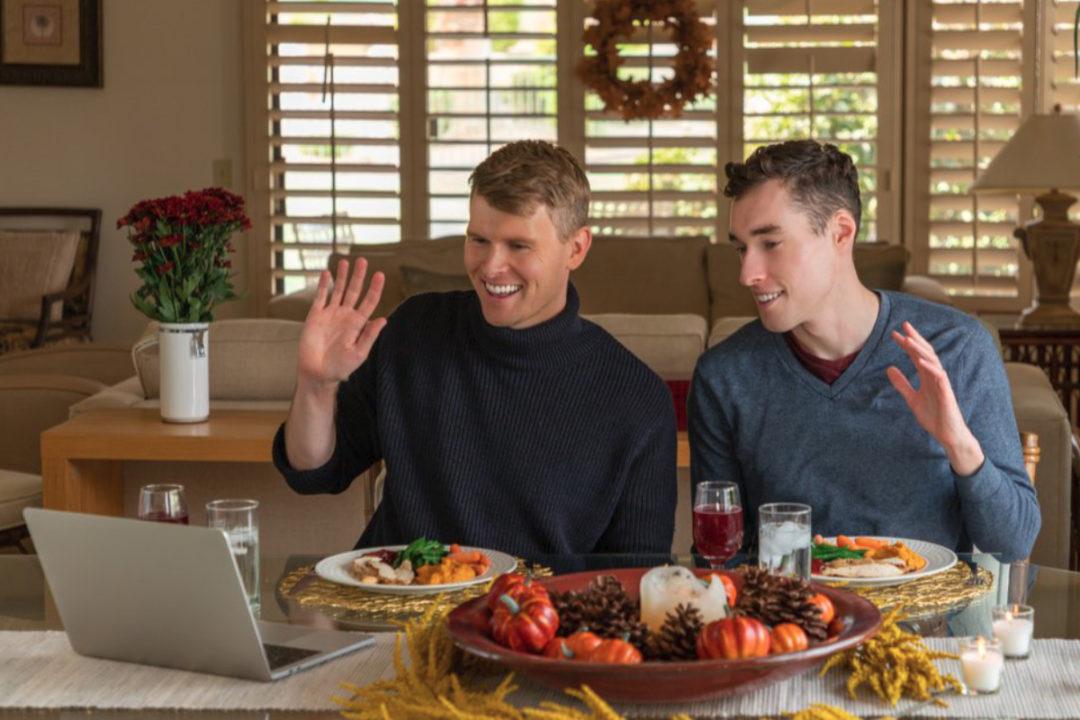 Eating Thanksgiving dinner over video chat