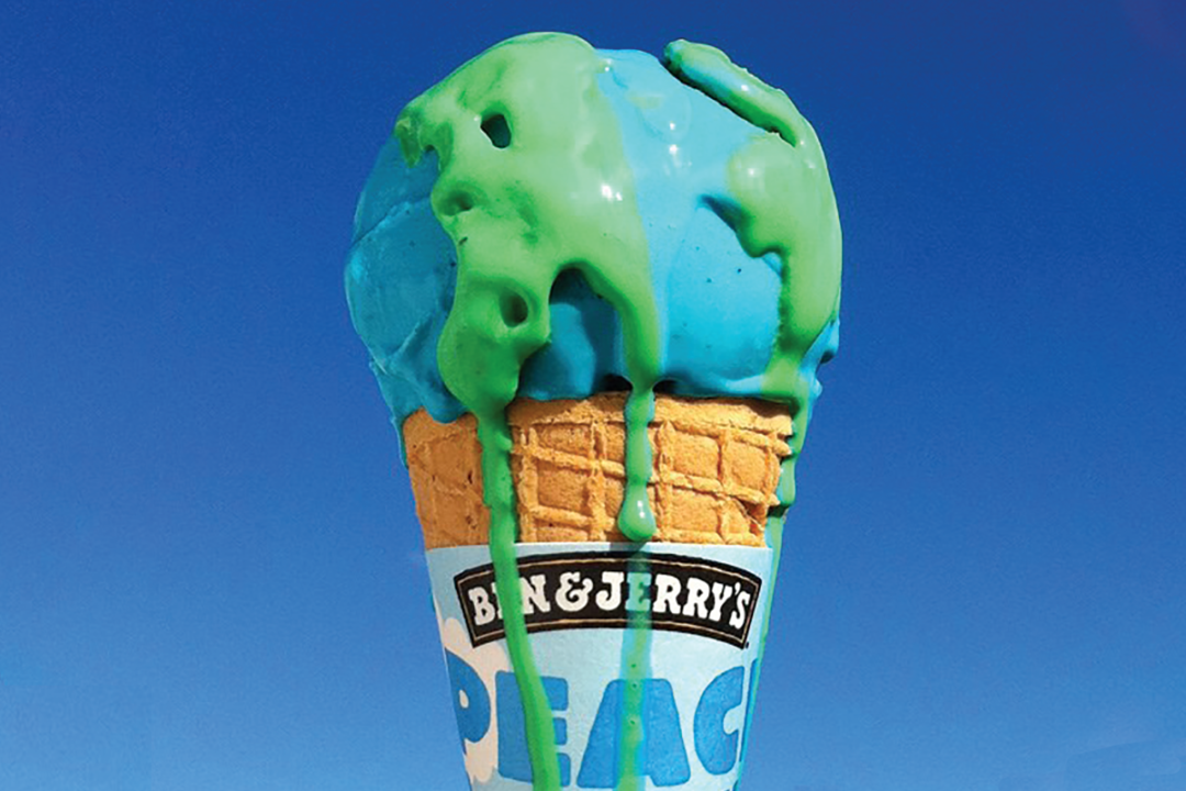 Ice cream cone resembling earth with Ben & Jerry's logo