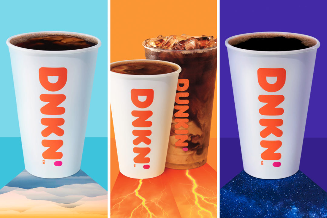 Dunkin' Extra Charged Coffee, Explorer Batch coffee and Dunkin' Midnight coffee