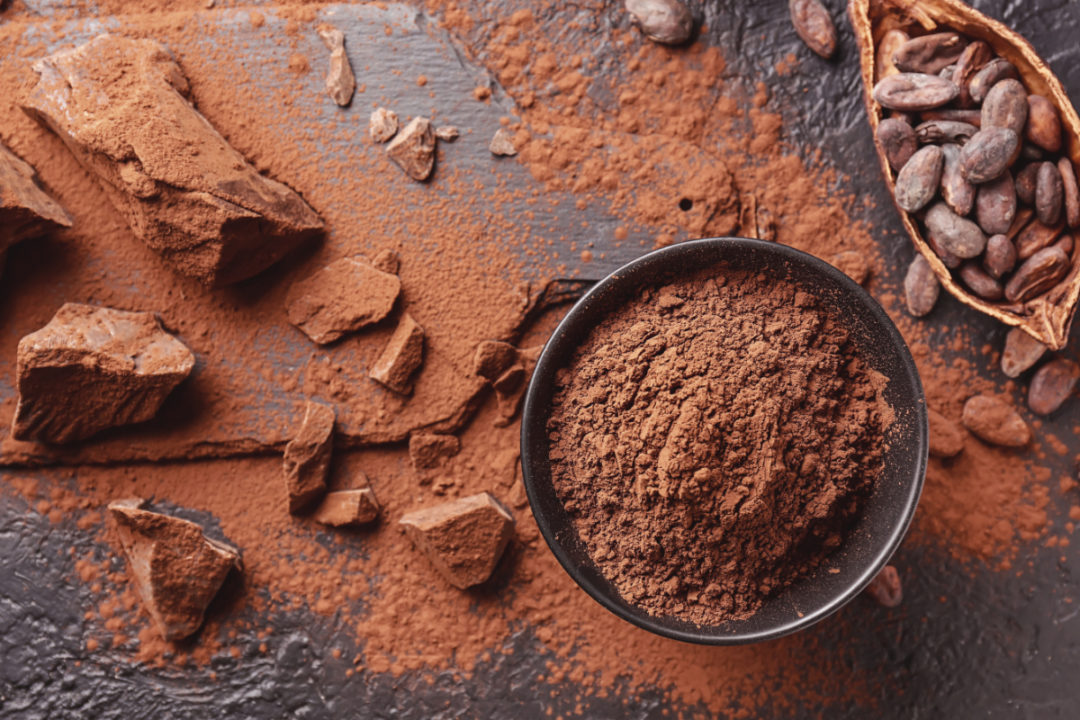 Cocoa beans, pods and powder