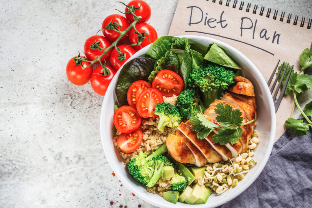 Diet plan notebook and healthy food