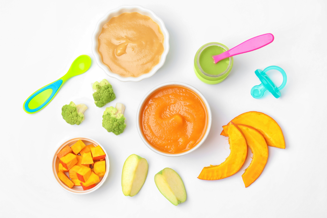 healthy baby food, fruit and veggies