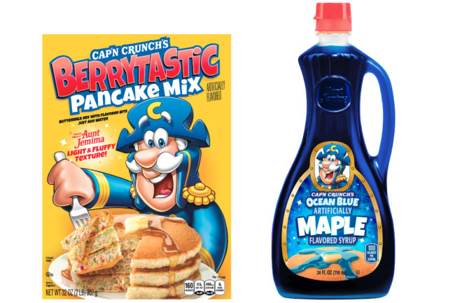 Cap'n Crunch's Berrytastic Pancake Mix and Cap'n Crunch's Ocean Blue Maple Flavored Syrup