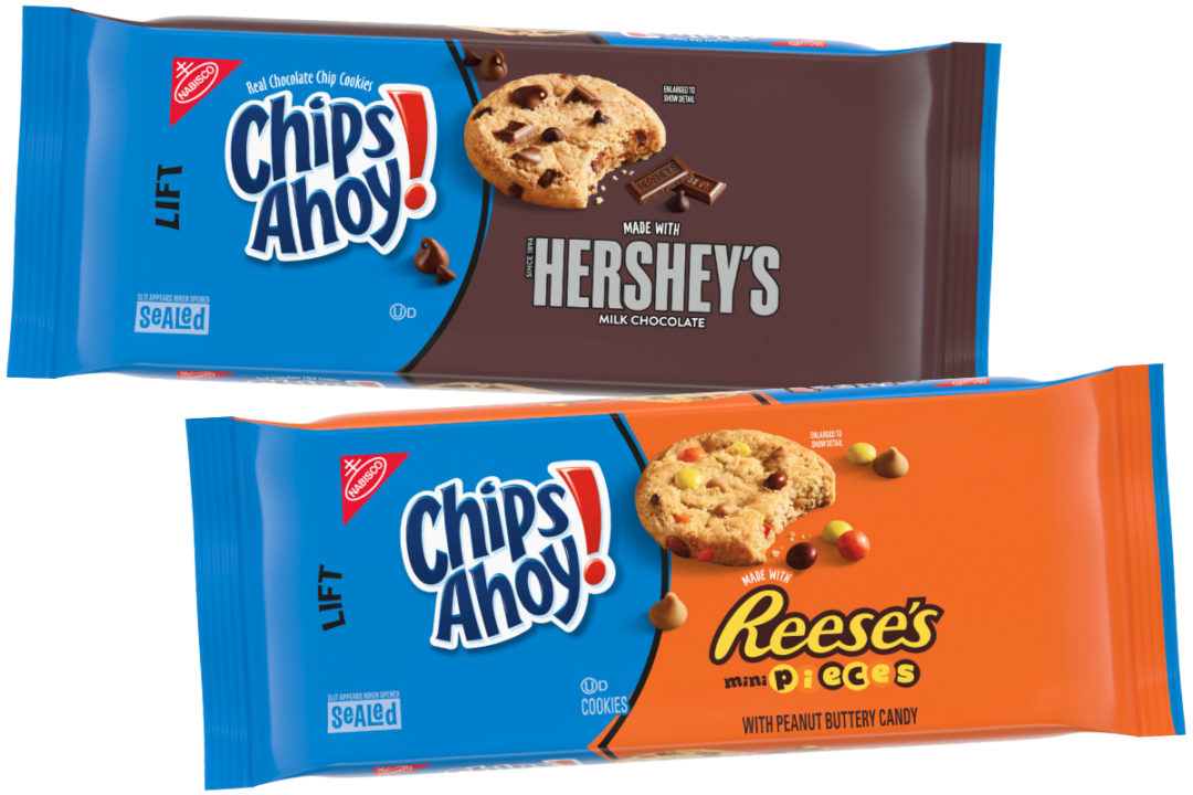 Chips Ahoy! made with chunks of Hershey's Milk Chocolate and Chips Ahoy! made with mini Reese's Pieces