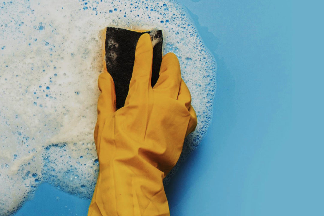 Gloved hand cleaning