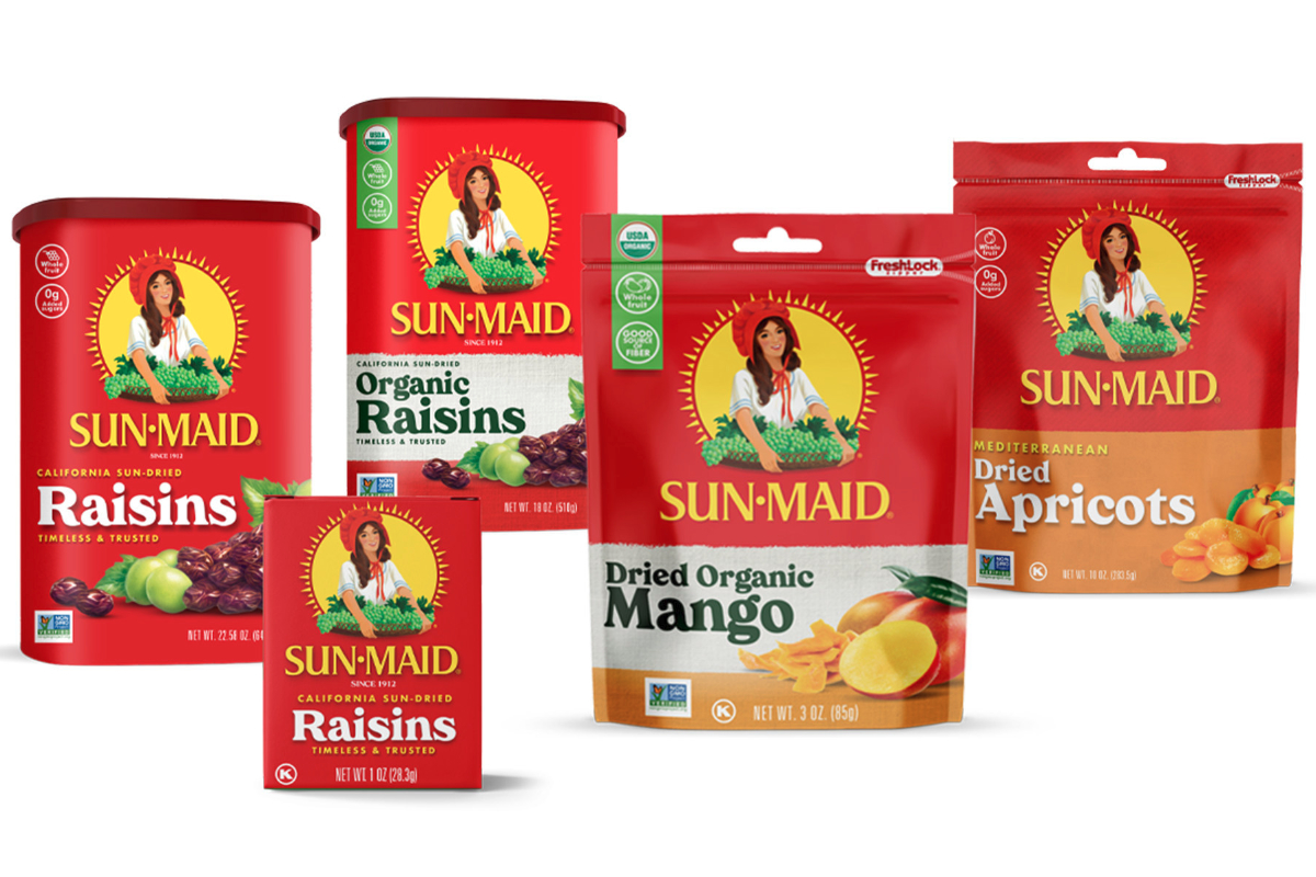 Sun-Maid Growers of California new logo and packaging