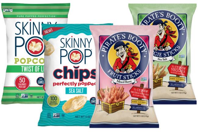 SkinnyPop Twist of Lime, SkinnyPop Chips, Pirate's Booty Fruit and Veggie Sticks