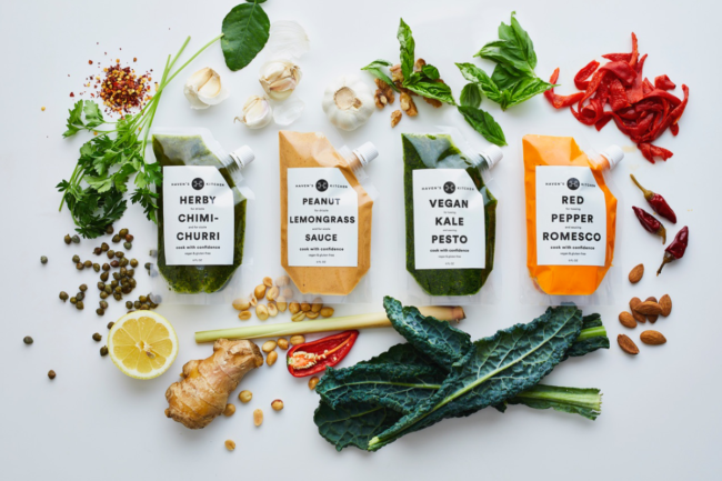 Haven's Kitchen's globally inspired sauces packaged in transparent squeezable pouches.