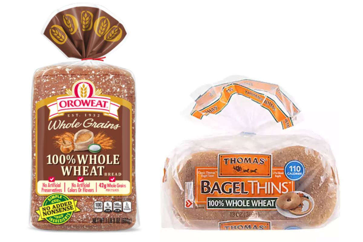 Oroweat 100% whole wheat bread and Thomas' 100% whole wheat bagel thins