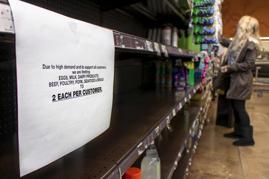 Coronavirus grocery limiting sign
