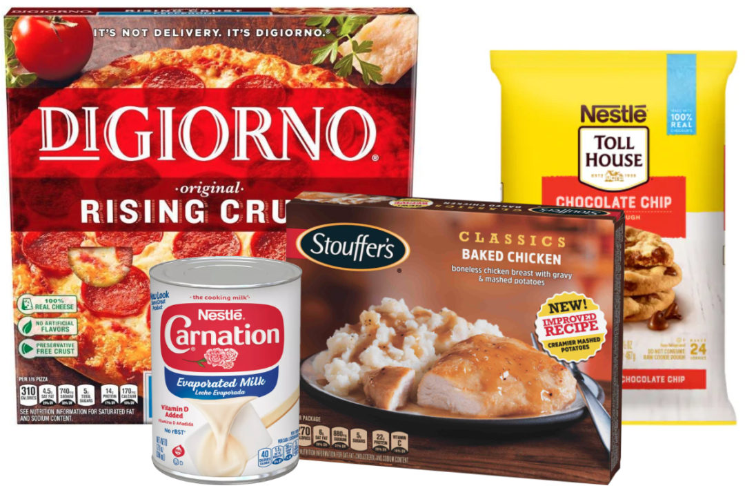 Nestle DiGiorno, Carnation, Stouffer's and Nestle Toll House products