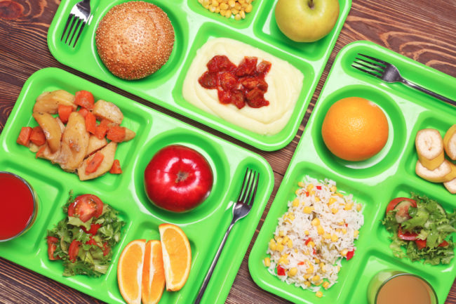 School lunch trays