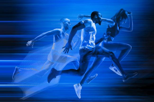 Three athletes