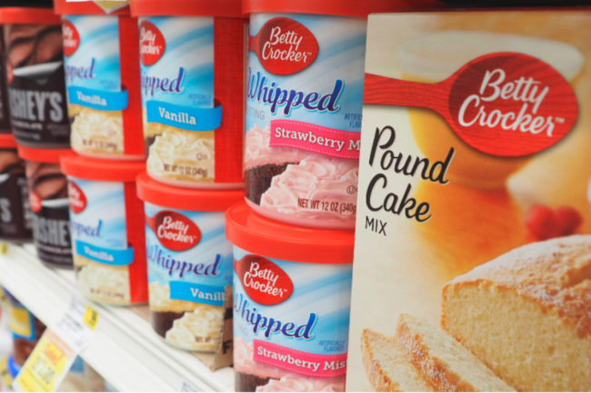 Betty Crocker products on shelves