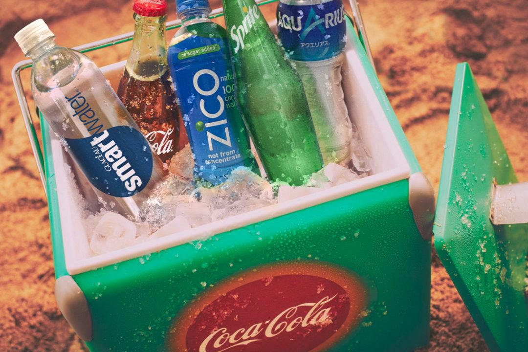 Coca-Cola beverages in a Coca-Cola cooler