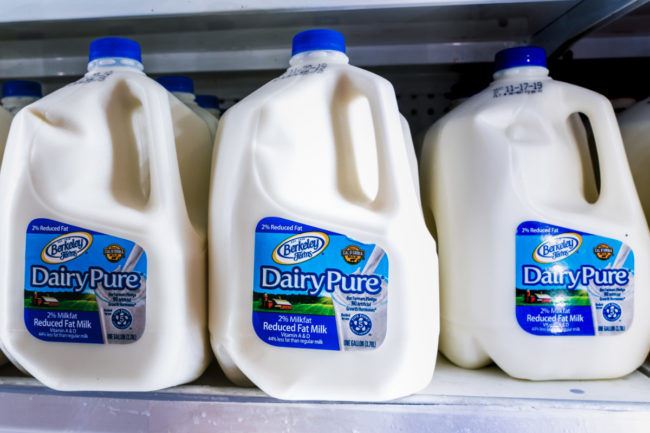 Dean Foods DairyPure milk on shelves