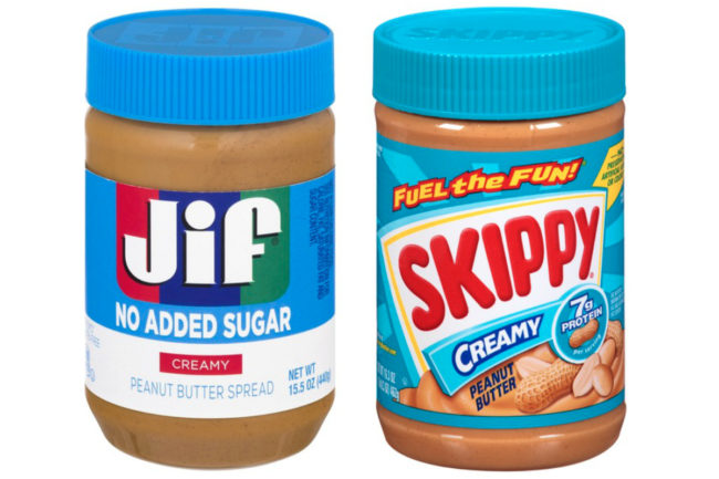 Jif and Skippy peanut butter with blue lids