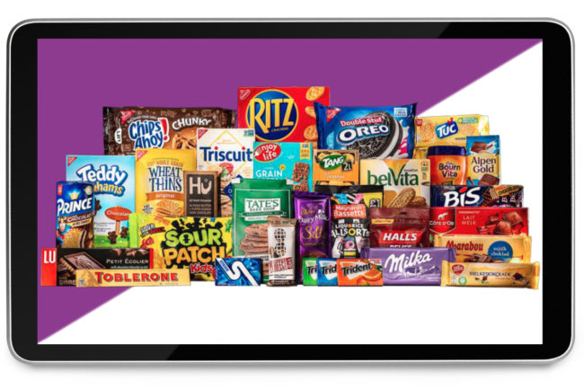 Mondelez products on tablet