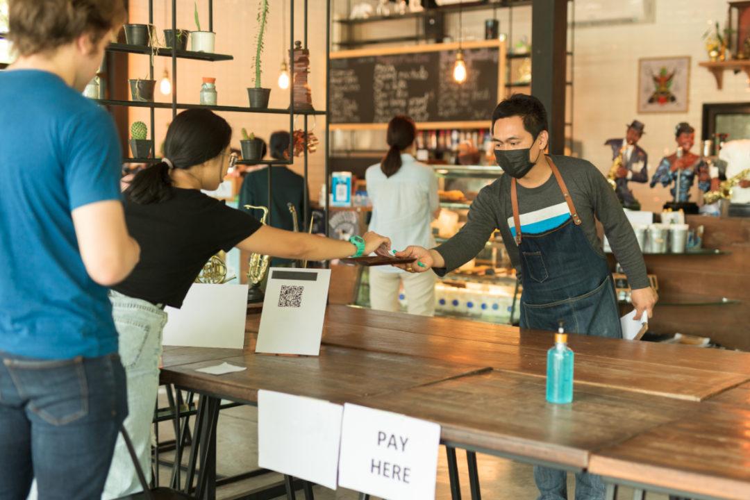 Reopened restaurant after coronavirus lockdown