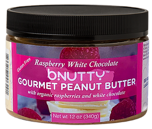 BNutty gourmet peanut butter with organic raspberries and white chocolate